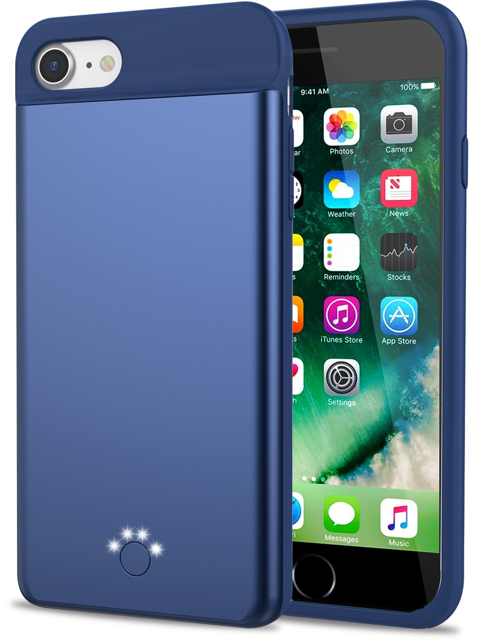 Smpoe iPhone 7/8 Battery Case, Ultra Slim Rechargeable Portable Charging Case for iPhone 8/7 / 6 / 6s External Battery Backup Case/Extra 100% Battery (Blue)
