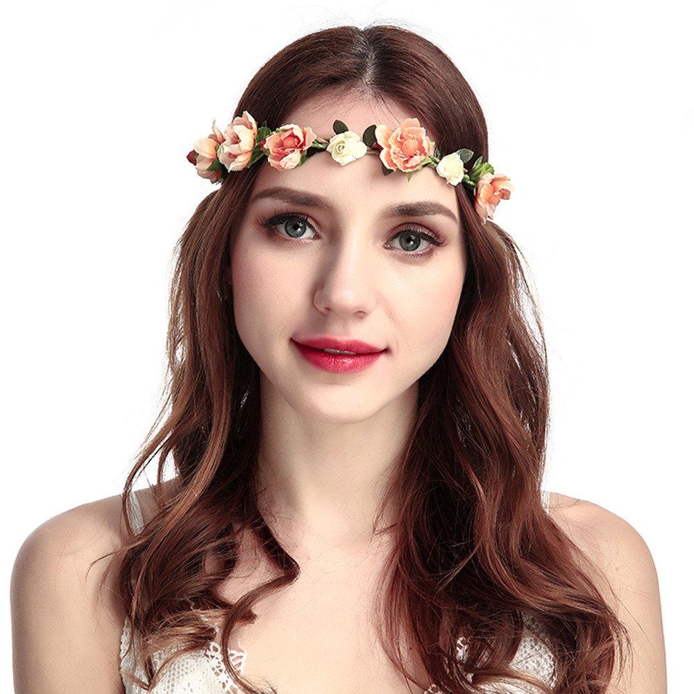 Amazon.com   Ladies Boho Garland Photography Props Flowers Hair Band  Festival Wedding Beach Party Headband (Orange)   Beauty bc6a2b75892