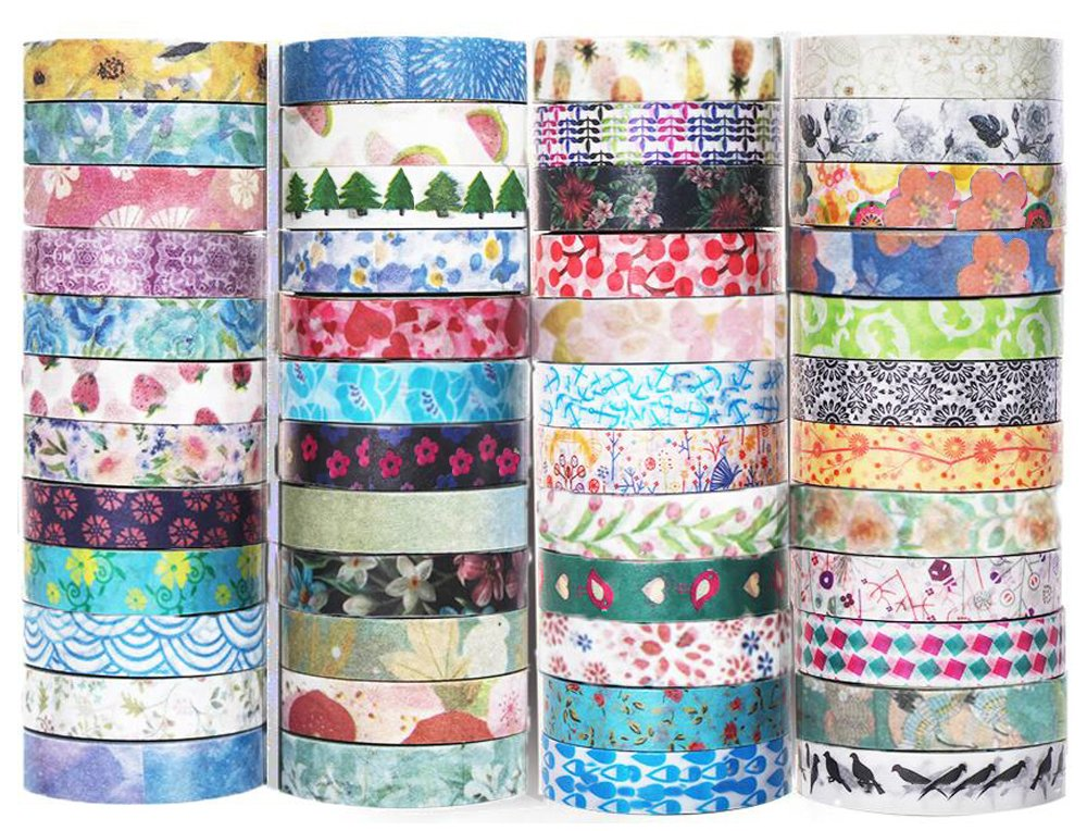 48 Rolls Washi Tape Set - 8mm Wide Decorative Masking Tape, Colorful flower style design for DIY Craft Scrapbooking Gift Wrapping Aapozz