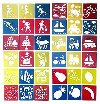 30/36/42 Stück Set Themen Schablone Zeichnung Vorlagen für Kinder ...