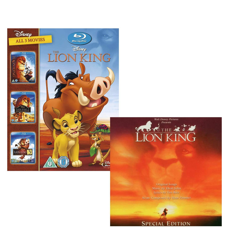 The Lion King 1-3 (Trilogy) - Lion King (OST) - Walt Disney Movie and Soundtrack Bundling Blu-ray and CD