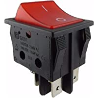 Tuimelschakelaar 2-pol AAN-UIT 250V 16A rood verlicht