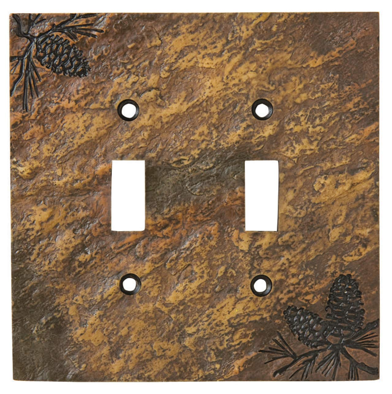 Big Sky Carvers 30170450 Pinecone Double Switch Plate