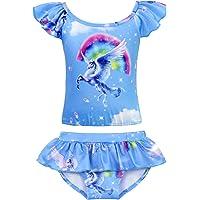 AmzBarley Unicorn Bathing Suit for Toddler Girls Swimming Pool Party Childs 2 Pieces Bikini Set Holiday Beach Sports Water Fun Swimwear Ruffle Blue Size 2-3 Years