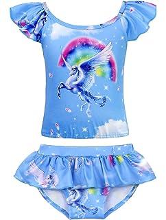 6c6bc1846f43 Cotrio Unicorn Swimwear Girls Two-Pieces Swimsuit Toddler Bathing Suit  Bikinis (Hot Pink)