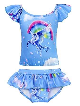 3c716dfc2f559 Cotrio Girls Two-Pieces Swimming Suit Rainbow Unicorn Tankini Swimsuits  Toddler Swimwear Baby Girl Bikinis