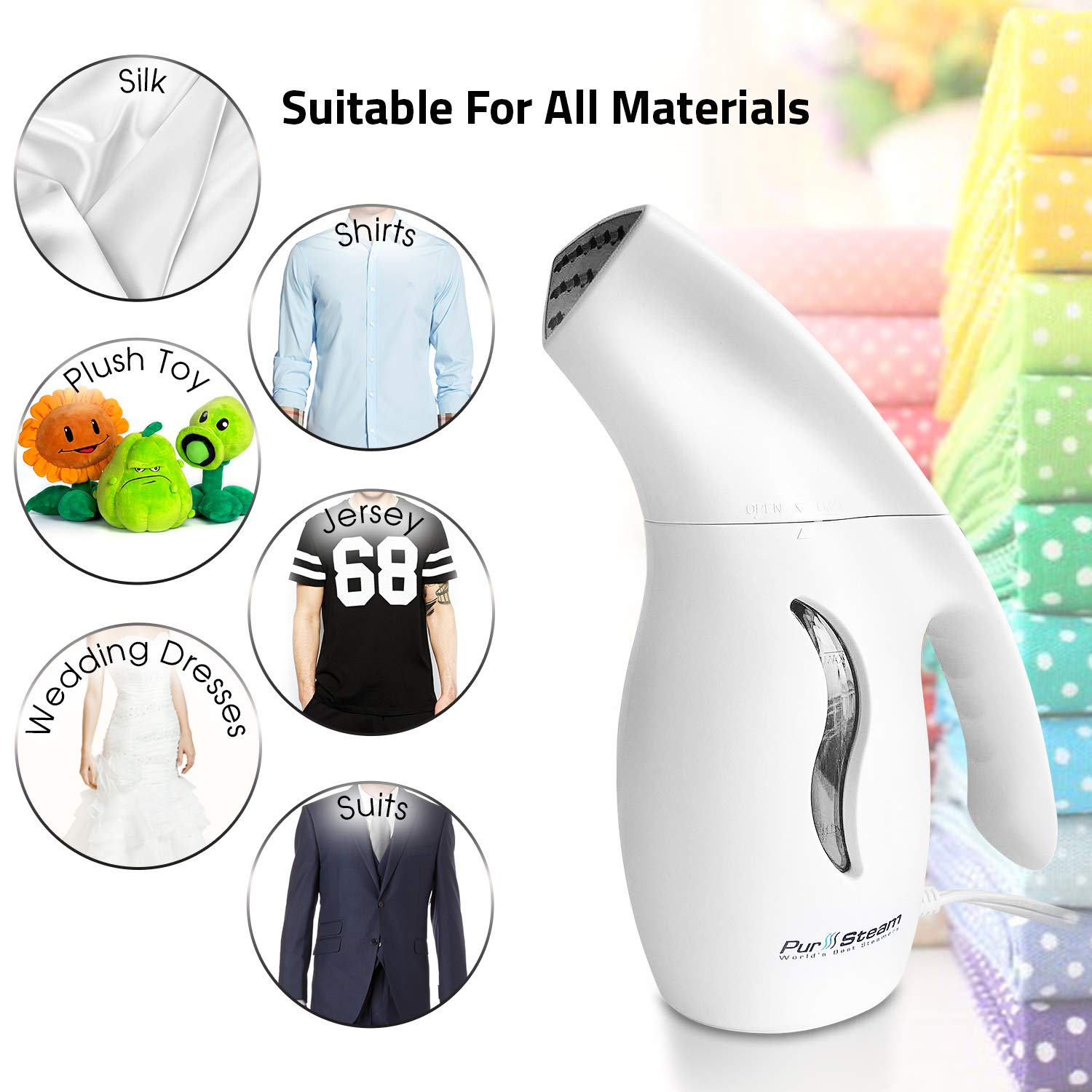 PurSteam Elite Powerful 7-1 Clothes/Garment/Fabric Steamer. Remove Wrinkles/Steam/Soften/Clean/Sanitize/Sterilize and Defrost with UltraFast-Heat Aluminum Heating Element. Perfect for Home and Travel PS-510