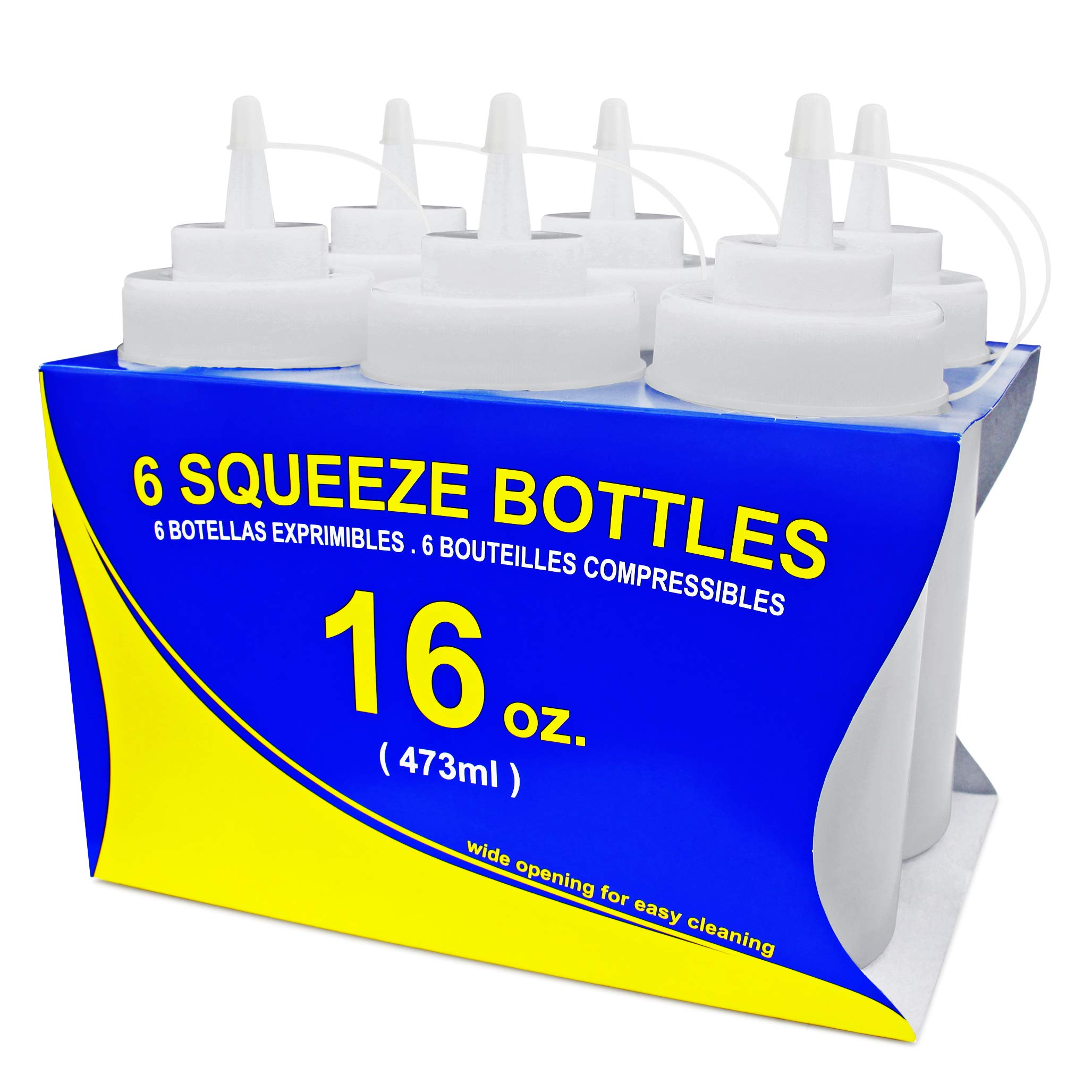New Star Foodservice 26177 Squeeze Bottles, Plastic, Wide Mouth, 16 oz, Clear, Pack of 6 by New Star Foodservice
