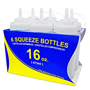 New Star Foodservice 26177 Squeeze Bottles, Plastic, Wide Mouth, 16 oz, Clear, Pack of 6