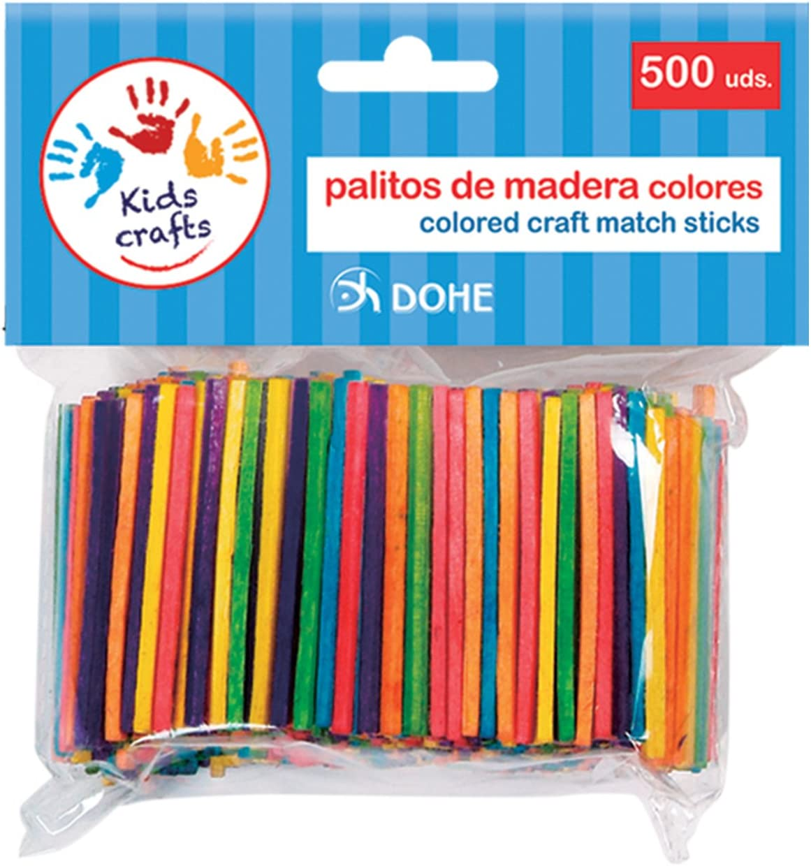 Dohe- 18107-Pack de 500 palitos de Madera, Color Surtidos (18107)