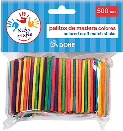 Dohe 18107-Pack de 500 palitos de Madera, Color Surtidos (18107 ...