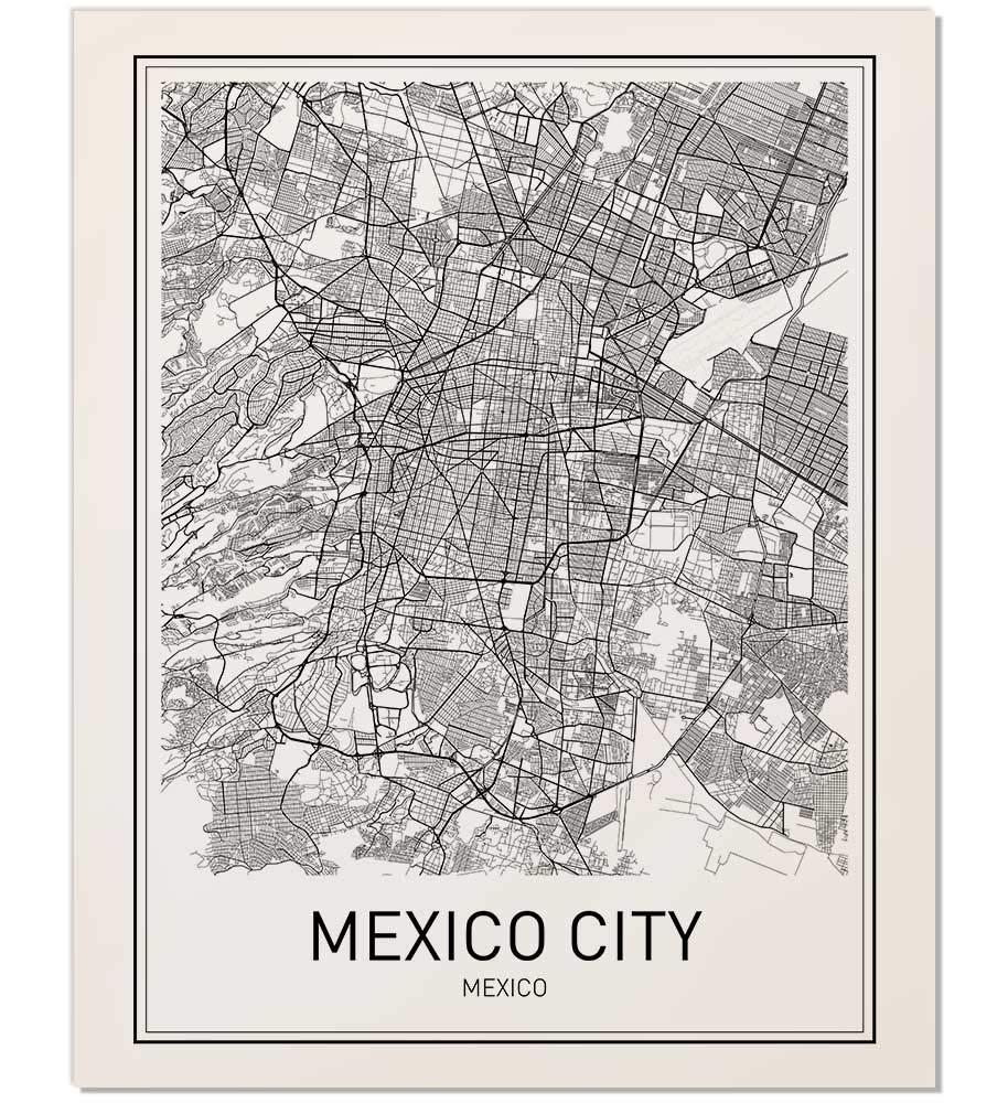 Amazon.com: Mexico City Poster, Mexico City Map, City Map ...