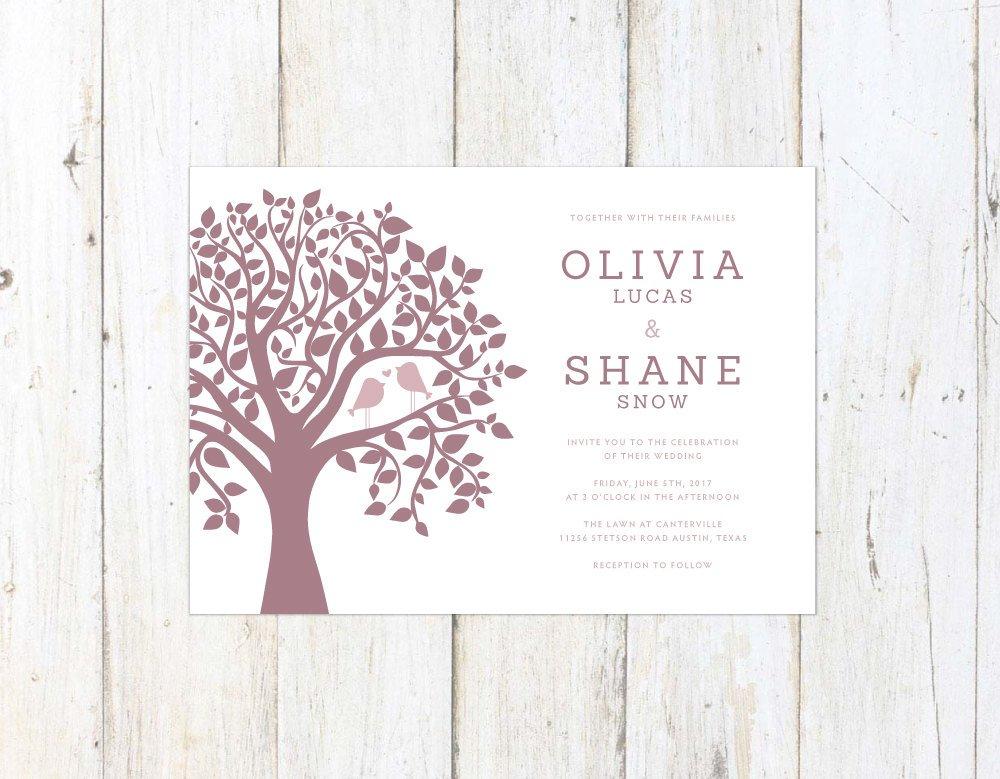 Cute Wedding Invitation, Birds in a Tree Wedding Invitation, Kissing Birds Invitation, Mauve and Marsala Wedding