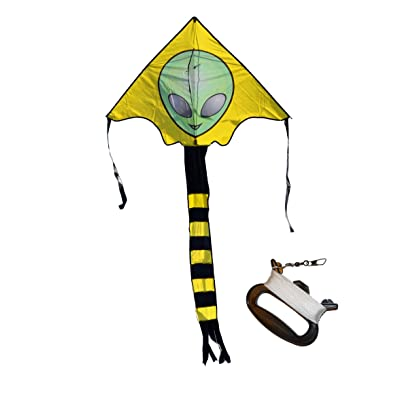 Weifang New Sky Kites Large Easy Flyer Big Alien Face Kite 7 X 4 Ft with String and Handle, Super Easy to Fly: Toys & Games