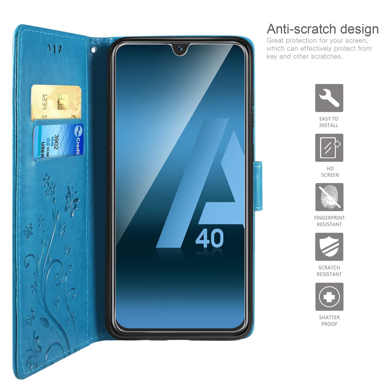 Porte Carte Credit Ticket Flip Case pour Samsung Galaxy A40 Bleu Fonction Stand Video ivencase Coque Samsung Galaxy A40 Retro Design PU Etui Housse en Cuir Portefeuille de Protection