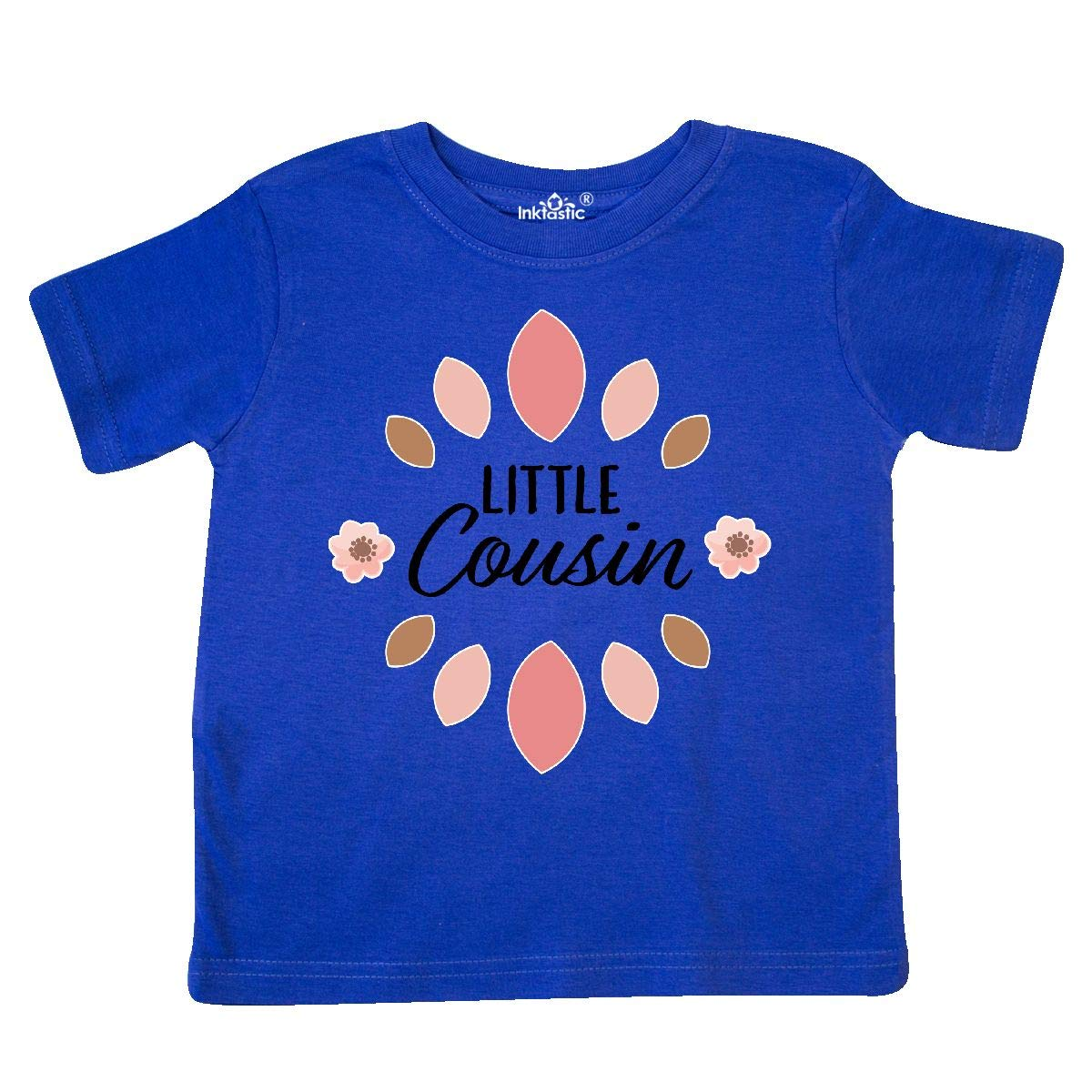 inktastic Little Cousin with Pink Flowers Toddler T-Shirt