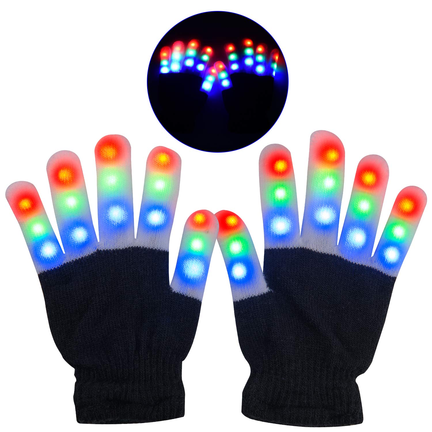 Yostyle Children's LED Light Gloves (Black, Sm)