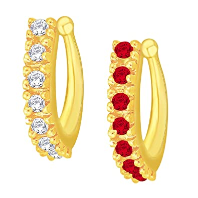 bc48407faefcd Buy V. K. Jewels Nose Pin for Women (Gold, Red)(vknr1055g) Online at ...