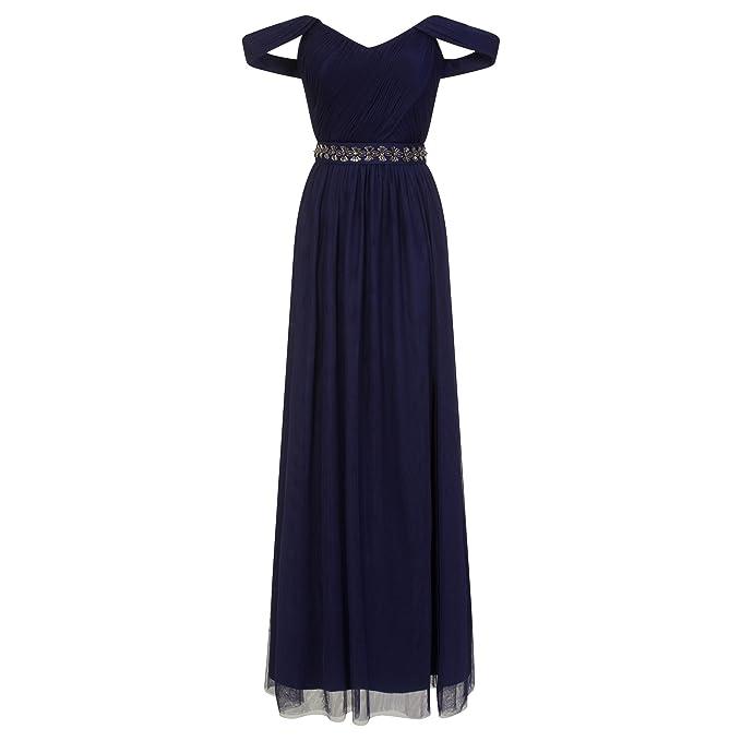 Little Mistress - Vestido largo en color azul marino con ornamentación de pedrería en la cintura