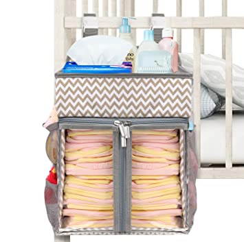 Large Baby Nursery Crib Bed Nappy Stacker Storage Dispenser Hanging Organizer