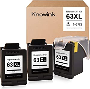 KNOWINK Remanufactured Ink Cartridge Replacement for HP 63 63XL ECO-Saver for OfficeJet 3830 4650 4652 4655 DeskJet 1110 1111 1112 2130 2132 3630 3632 Envy 4520 4512 4516 4520 4522 (3-Pack, Black)
