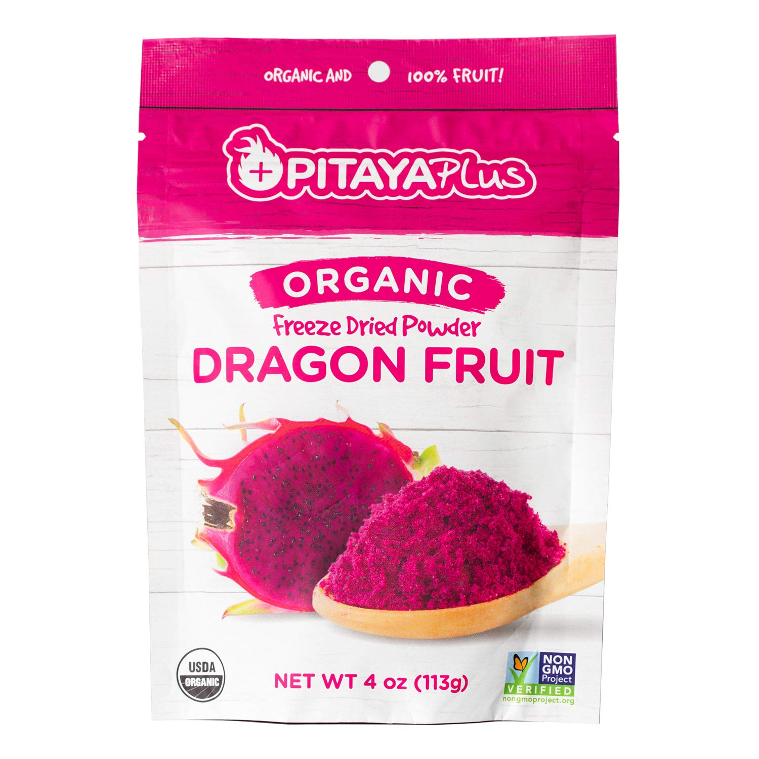 Pitaya Plus Freeze Dried Red Dragon Fruit Powder Organic. 4 Ounces of 100% Dragon Fruit for the Brightest Pink Rceipes. USDA and Oregon Tilth Organic, Non-GMO, Earth Kosher, Vegan Verified, B-Corp. by Pitaya Plus