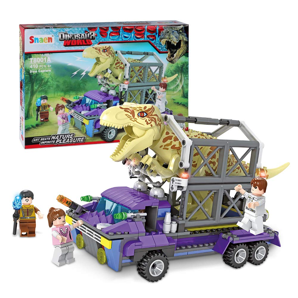 410 Pieces SNAEN Intelligent T-rex Building Blocks with Toy Truck and 3 Figures Create Your Own Dinosaur World Playset for Boys and Girls