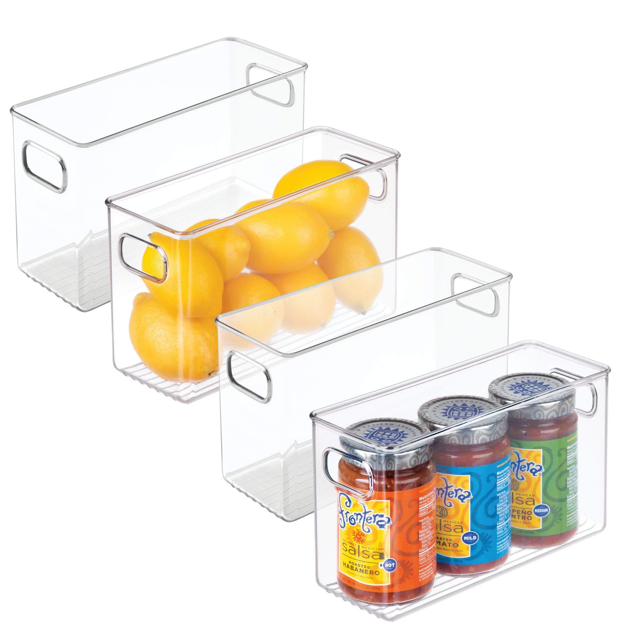 mDesign Plastic Kitchen Pantry Cabinet, Refrigerator or Freezer Food Storage Bins with Handles - Organizer for Fruit, Yogurt, Snacks, Pasta - Food Safe, BPA Free, 10'' Long - 4 Pack, Clear