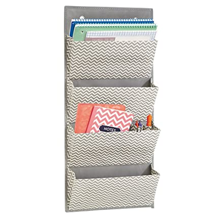 MDesign Wall Mount/Over The Door Fabric Office Supplies Storage Organizer  For Notebooks, Planners