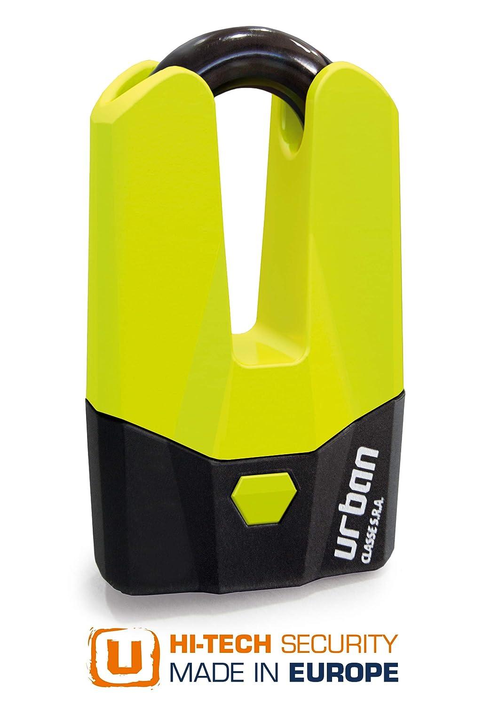 Antivol Bloque Disque Mini U /Ø15mm Jaune Fluo URBAN Homologu/é SRA