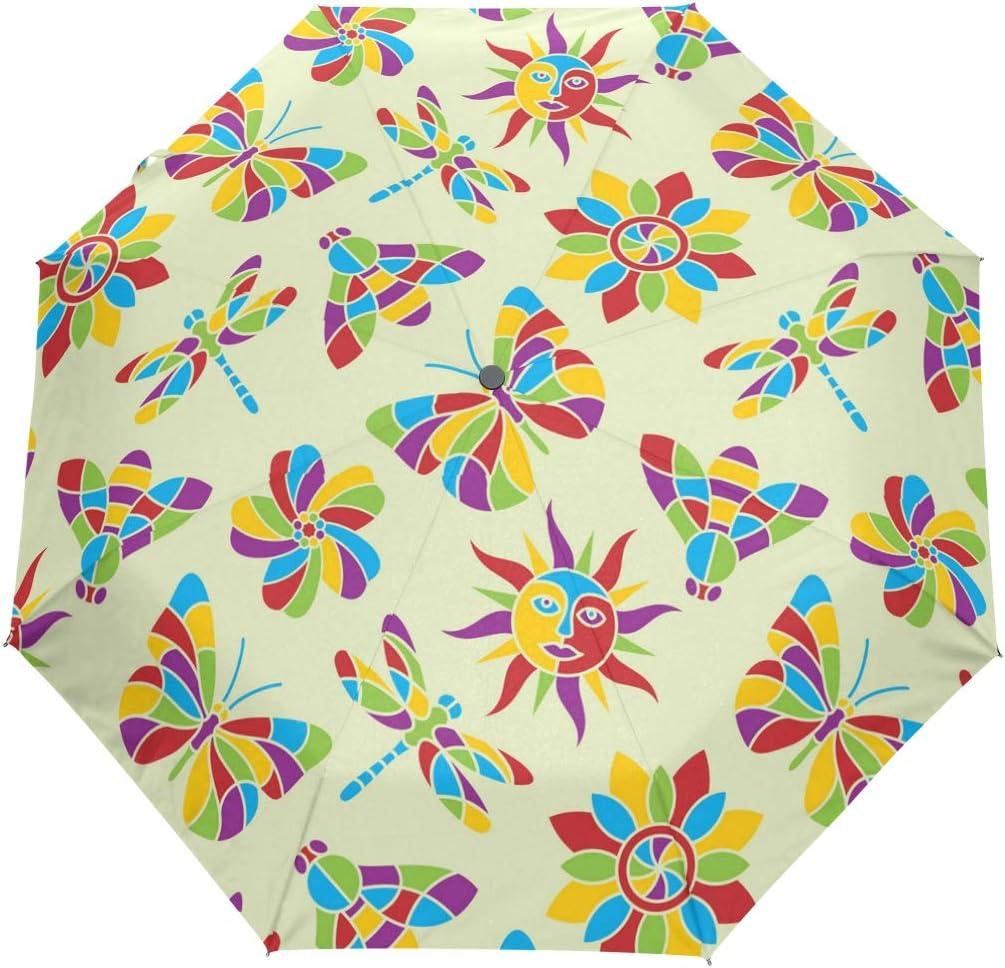 Summer Dragonfly Wall Decals fashion print cute Windproof automatic tri-fold umbrella sun UV protection Sun umbrella