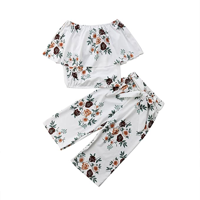 1b894b43c73 Amazon.com  Toddler Baby Kid Girl Off Shoulder Floral Crop Top T-Shirt Tank  Top + Shorts Pants Leggings Trousers Summer Outfit  Clothing