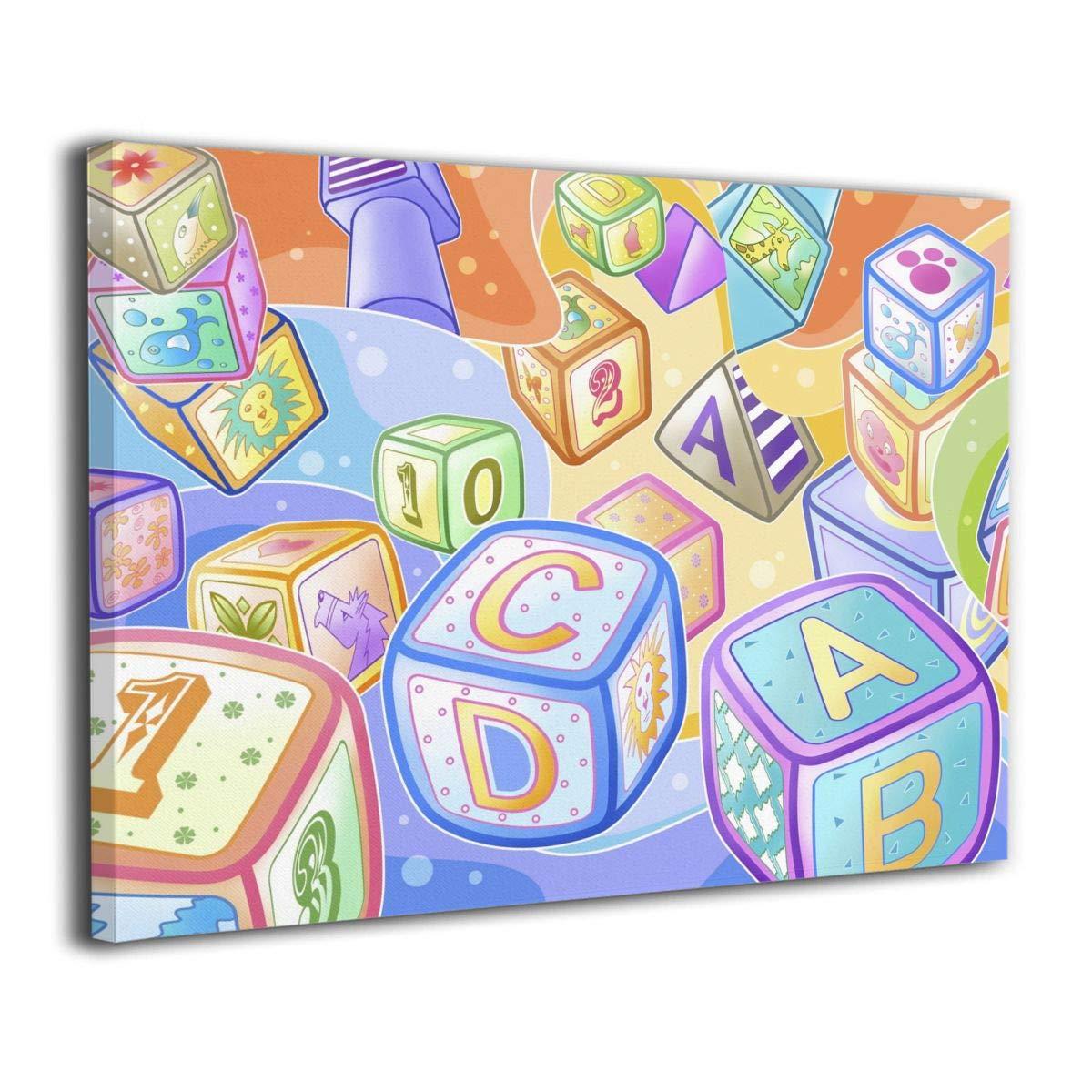 Amazon Com Lqz Paint Kid Letter Dice Canvas Painting Home Decor
