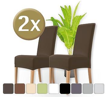 ENTSPANNO Luxus Stuhlhussen 2er Set | Elastische Stretch Hussen Stuhl |  Überzüge Für Stühle |