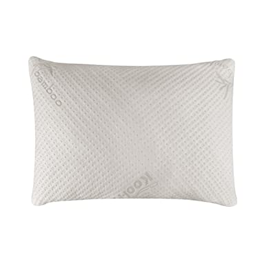 Snuggle-Pedic Ultra-Luxury Bamboo Shredded Memory Foam Pillow Combination With Adjustable Fit and Zipper Removable Kool-Flow Breathable Cooling Hypoallergenic Pillow Cover (Queen)
