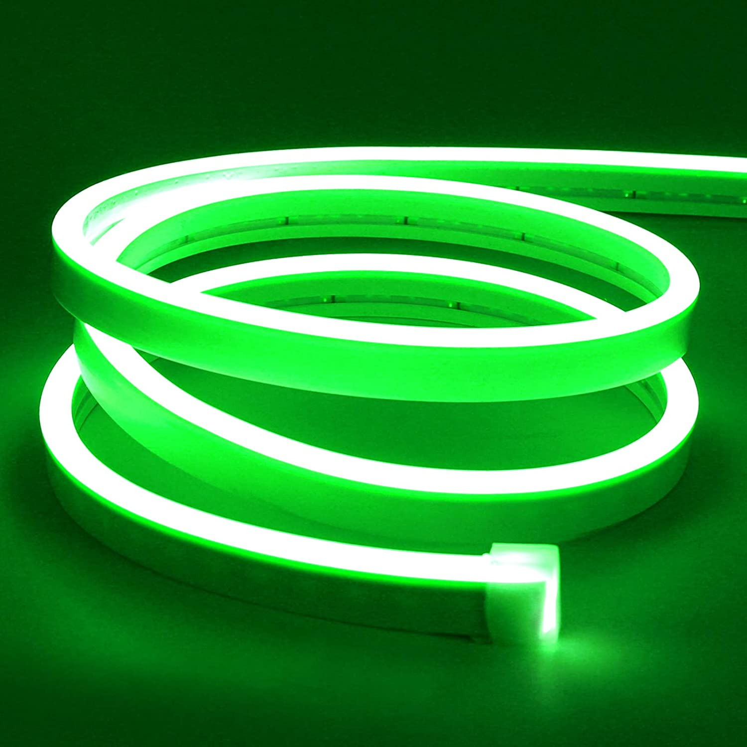 Lamomo LED Neon Flex, 16.4ft/5m Green Neon Light Strip, 12V Flexible Waterproof Neon LED Strip, Silicone LED Neon Rope Light for Kitchen Bedroom Indoor Outdoor Decoration (No Power Adapter)