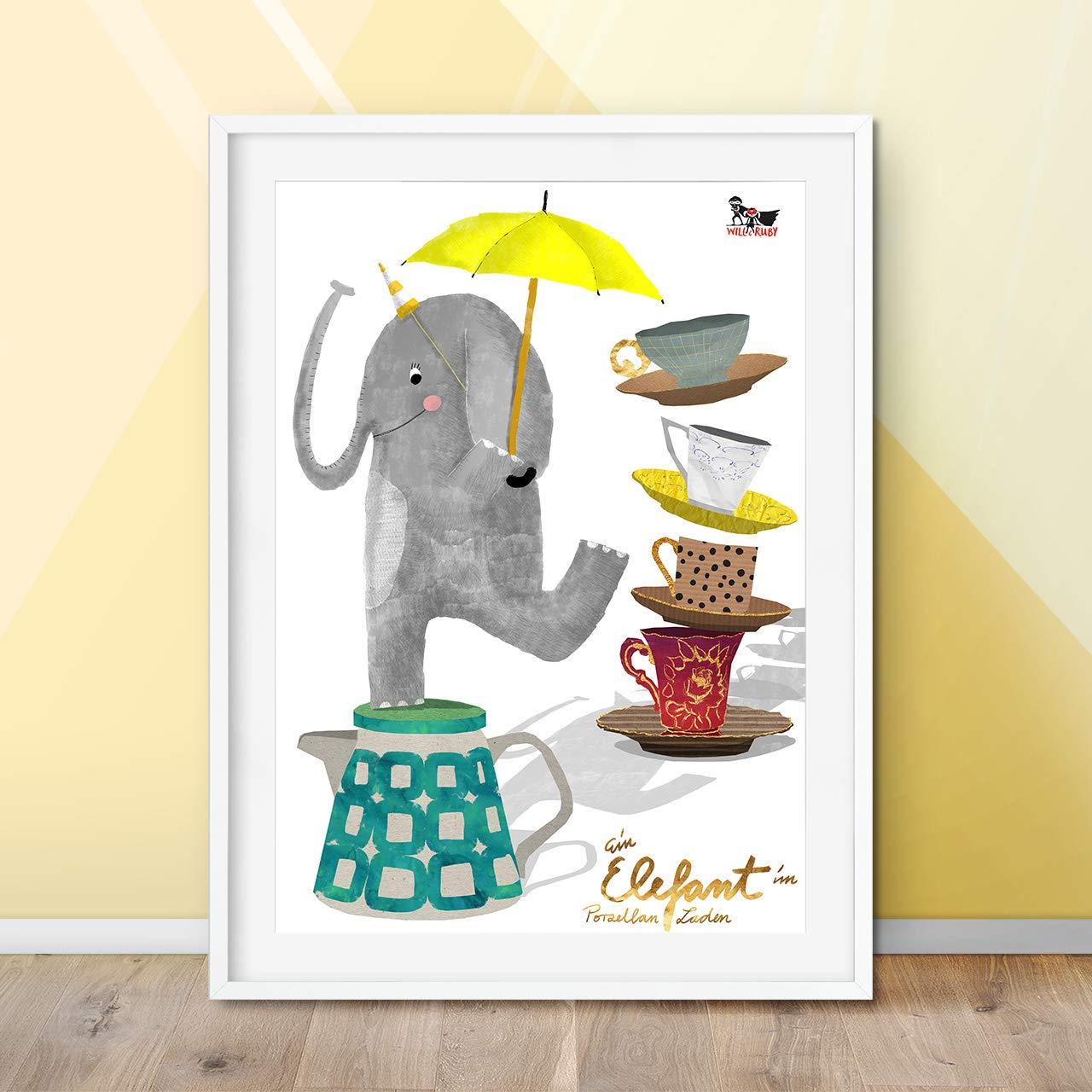 Will Ruby Elefant Im Porzellanladen Poster A3 Kinderzimmer