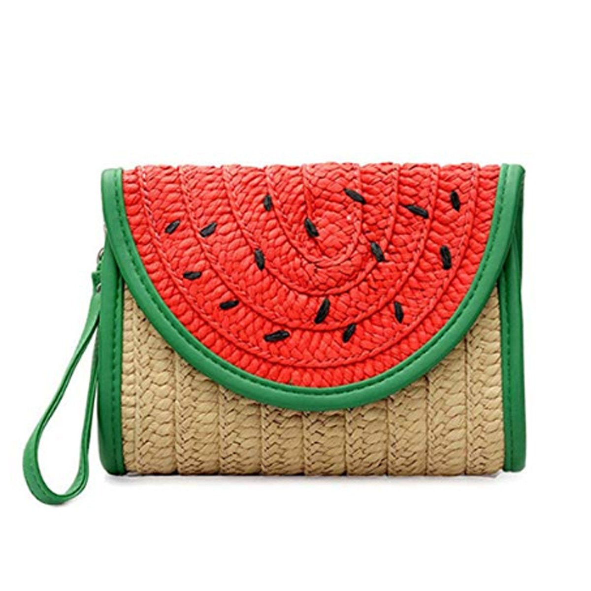 Women Cute Watermelon Purse Summer Straw Clutch Purse Fruit Shape Beach Bag With Wristlet