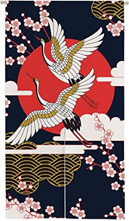 Ofat Home Japanese Noren Doorway Curtain Wide, Artistic Crane Door Curtain Tapestry Room Divider for Home Decor 33.5x59 in