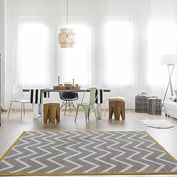 The Rug House Tapis De Salon Milan Gris, Beige Et Ocre, Motif Chevron  Moderne
