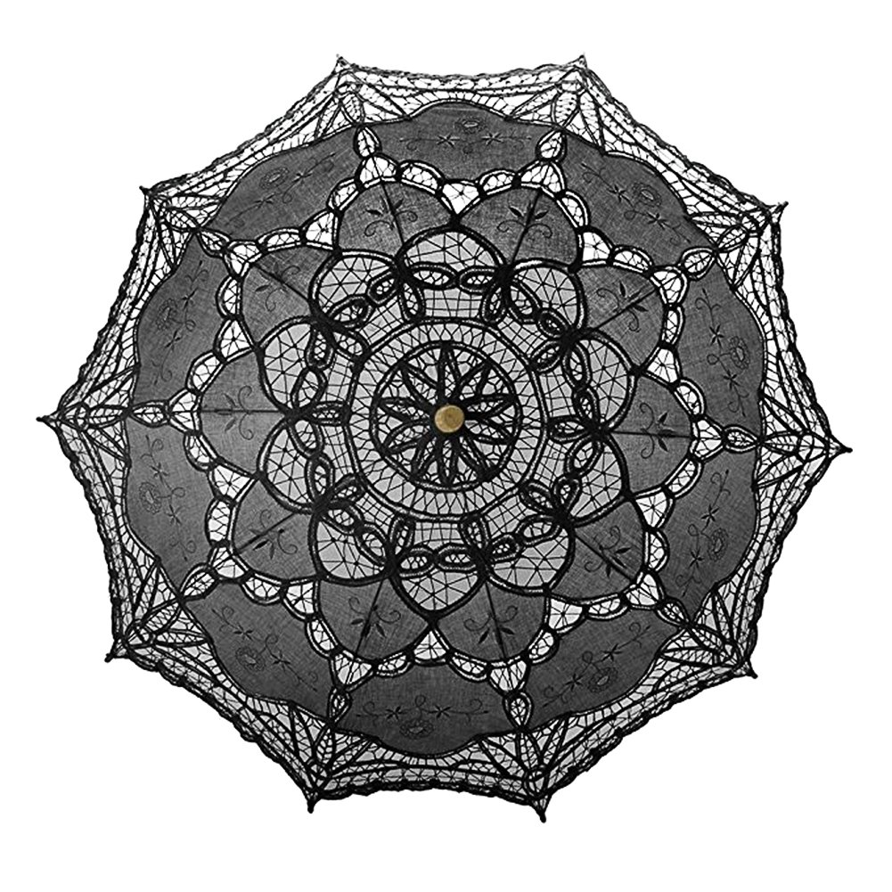 Per, ombrello parasole in pizzo realizzato a mano, con manico in legno stile gotico e decorazioni, per matrimonio, addii al nubilato, servizi fotografici, diametro 67 cm, bianco