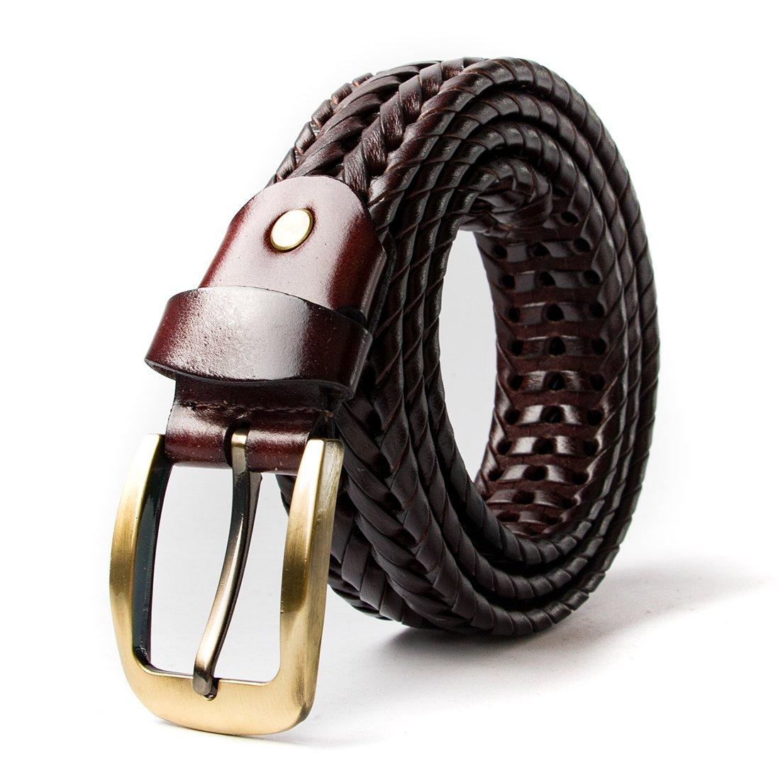 VanPeng Men Braided Woven Genuine Leather Belt Black 35mm wide (coffee 1, waist:38~42)