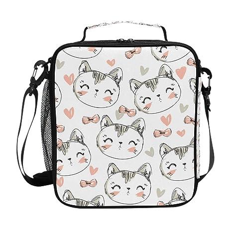 JSTEL - Bolsa de almuerzo para gatos con diseño de gato y bolsa de almuerzo,
