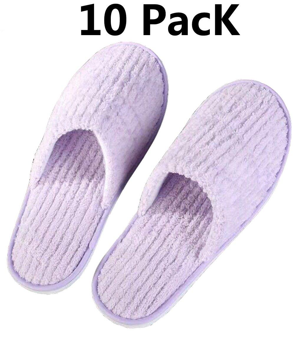 YIY 10 Pack Pantoufle jetable Unisexe Fermé Fluffy Hôtel Accueil Spa pantoufles pour les femmes hommes, taille 29 * 11 CM, velours corail + EVA - confortable, antidérapant, inodore (bleu)