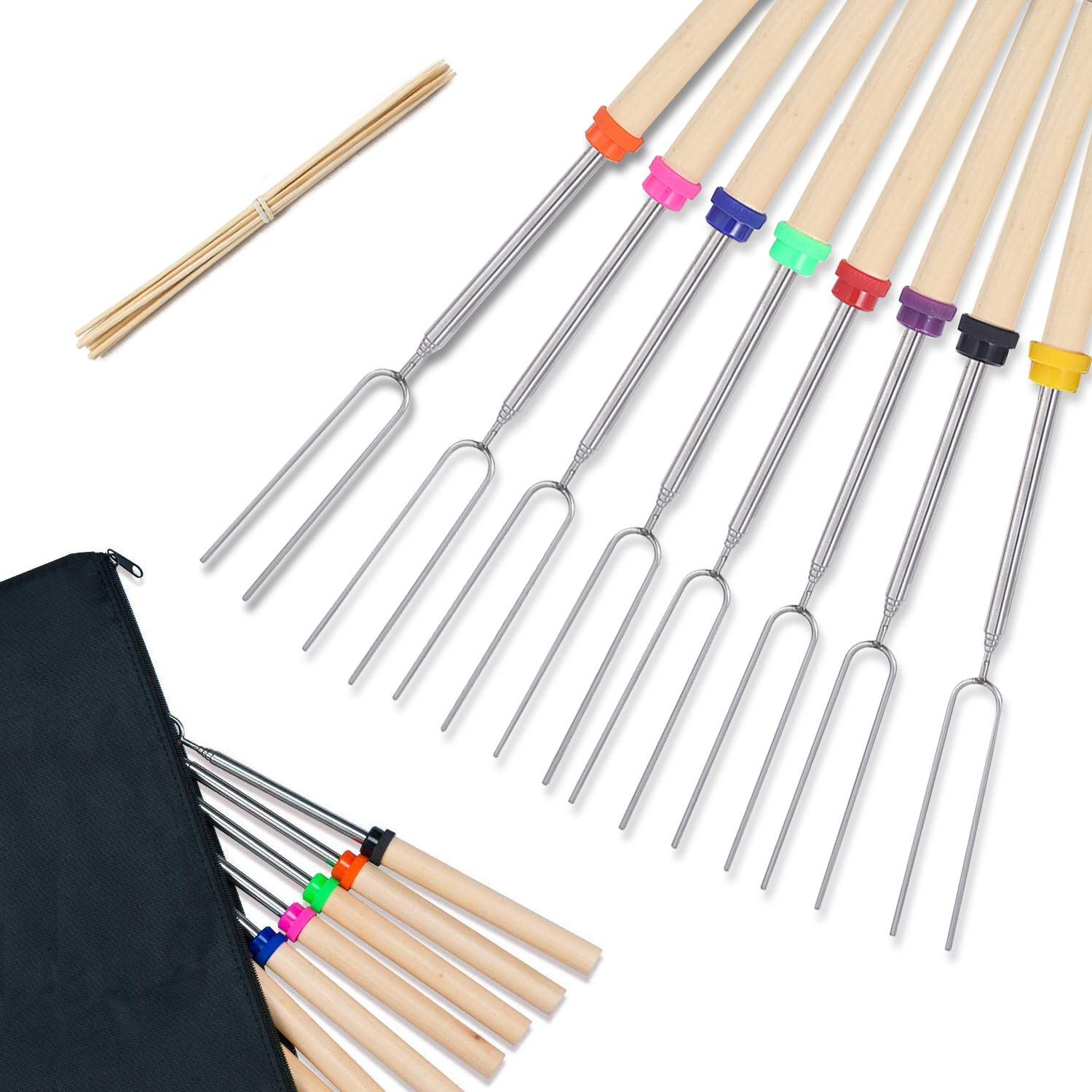 Roasting Sticks, Marshmallow Roasting Sticks, Set of 8 Barbeque BBQ Skewers with 10 Bamboo Skewers for Campfire, Firepit, and Sausage BBQ, 32 Inch (8 Colors)