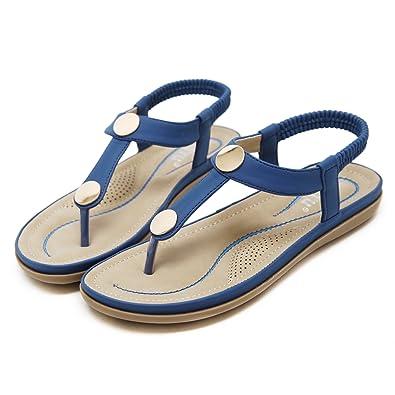 TieNew Damen Sandalen,Böhmische Sommer Sandals Flach Zehentrenner Stil T-Strap Offene Schuhe Strand Schuhe, Damen Sandalen Bohemian Sandalen Flip Flop Strandschuhe