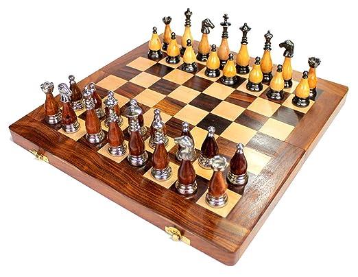 Juego de mesa de ajedrez plegable de madera de 35,5 x 35,5 cm ...
