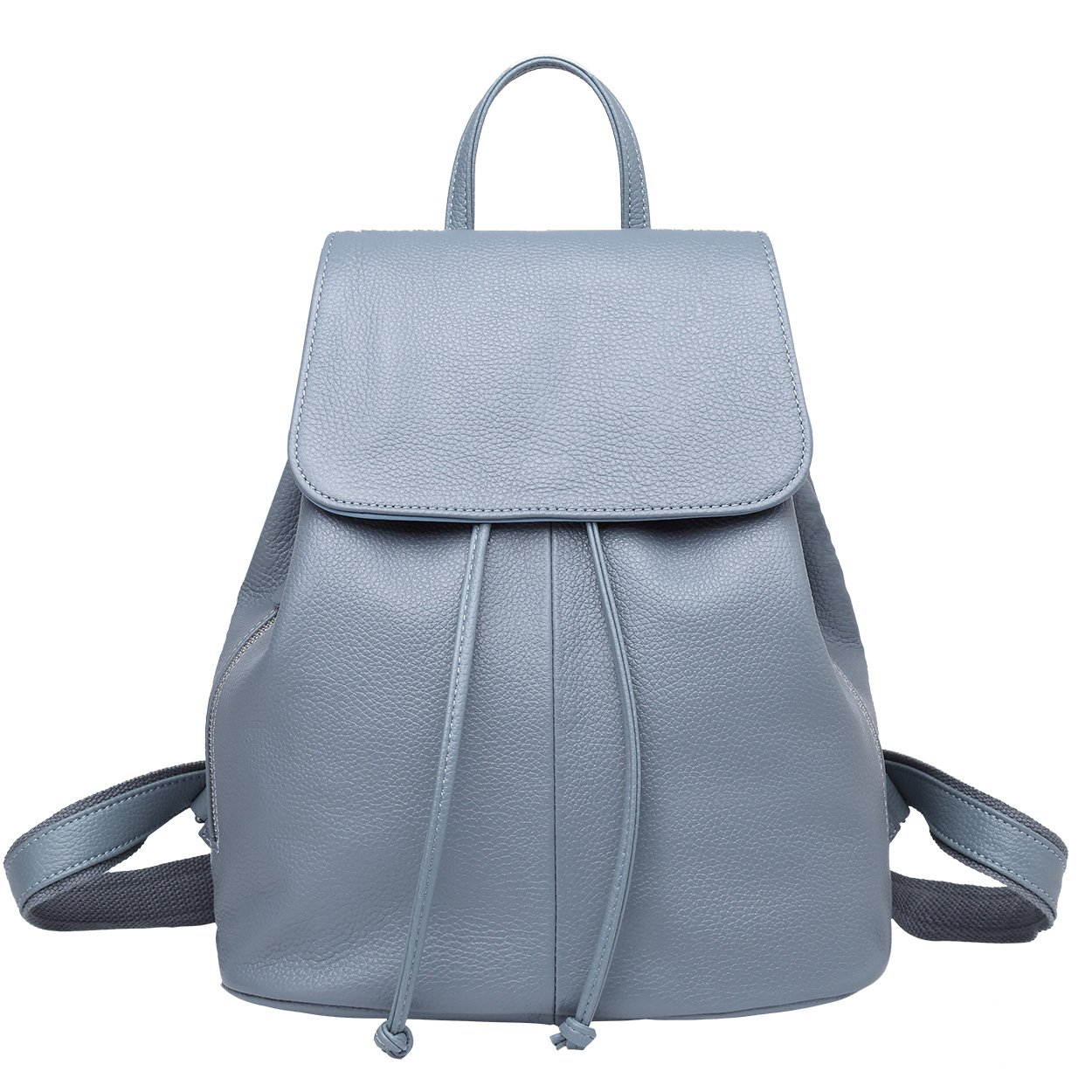 Genuine Leather Backpack for Women Elegant Ladies Travel School Shoulder Bag (11.42'' 12.2'' 5.91'', Light Blue)