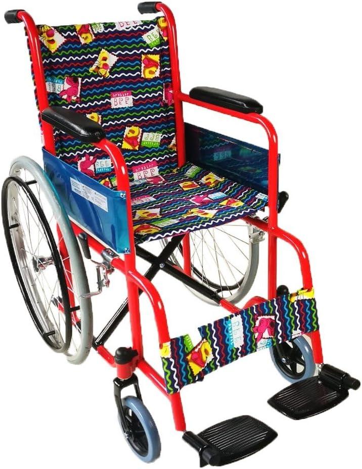 Mobiclinic, modelo Teatro, Silla de ruedas ortopédica, plegable, para minusválidos, de aluminio, freno en manetas, reposapiés y reposabrazos extraíbles, Rojo tapicería estampada, asiento, ultraligera