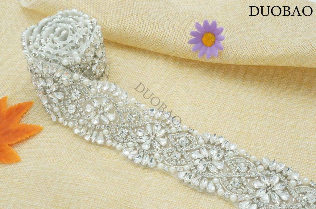 DUOBAO Rhinestone-Sash-Belt Wedding Dress Sash Gold Bridal Applique Rhinestone Clear Bridal Sash Rhinestone Crystal Trim Wedding Belt Pearl by DUOBAO